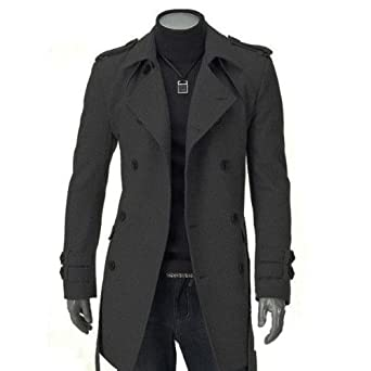Grey(XL) Mens Slim Casual Fit Trench Coat Double Breasted Strap ...