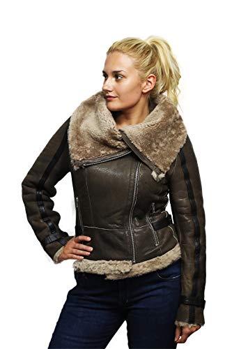- Brandslock Womens Genuine Shearling Sheepskin Leather Aviator Vintage Flying Bomber Jacket (M, Brown)