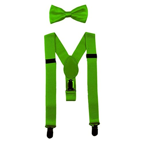 ids Suspenders Bowtie Set,Extra Sturdy Polished Silver Metal Clips,Adjustable Length 1 inches Suspender with Bow Tie Set for Boys and Girls-Super green ()