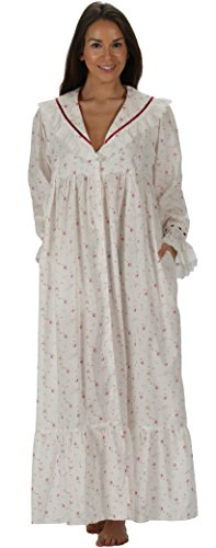 (The 1 for U Amelia 100% Cotton Victorian Nightgown with Pockets 7 Sizes (XS, Vintage Rose))