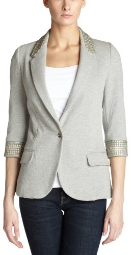 Aryn K Women's Hardwar Bf Jacket,Heather Grey,Medium
