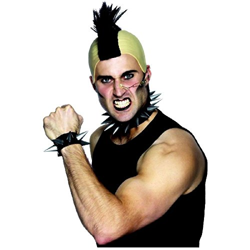 Spiked Collar & Wristband Adult 80s Punk Rocker Costume Accessory Fancy Dress
