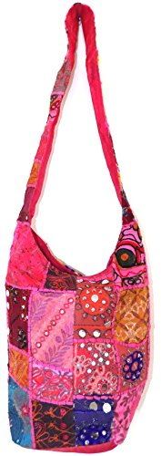 Festival Patchwork Gypsy Body Pink Mirror Boho Beads Beach Embroidered Patch Colour Cross Bag Sling Hippy Cotton amp; Multi Travel Hippie HandBag Shoulder Sequin Large 6UUrH