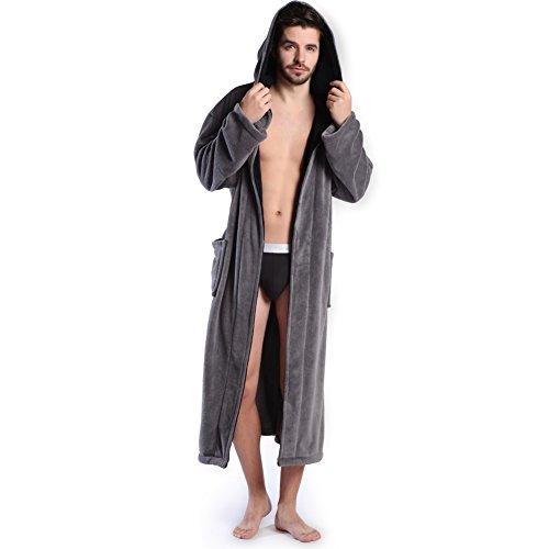 (KEMUSI Hooded Men's Grey Soft Spa Long Bathrobe,Comfy Full Length Warm Nightdress …)