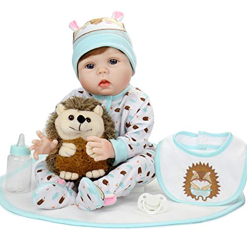 Aori Lifelike Realistic Reborn Baby Doll 22 Inch Real Looking Weighted Reborn Doll with Hedgehog Toy Best Birthday Set for Girls Age 3