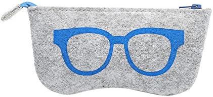 AchidistviQ - Funda de Fieltro de Lana para Gafas, Gafas, Cremallera, Bolsa de Almacenamiento, Gafas de Sol, Caja portátil Azul Azul