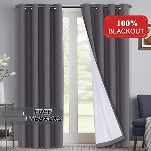 100% Blackout Curtains 108 inch Grey Faux Cotton with White Liner Thermal Insulated Linded Window Draperies Extra Long, Waterproof Curtains for Patio Sliding Glass Door, Grey, 52x108-inch, 2 Panel (Inch Wide 108 Curtains)