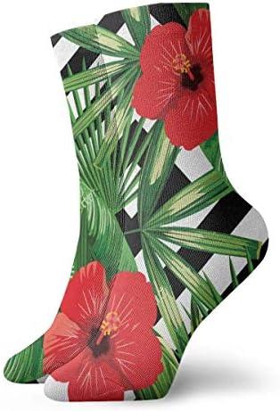 熱帯のヤシの葉ハイビスカスドレスソックス面白い靴下クレイジーソックス女の子のためのカジュアルな靴下男の子男の子30 cm