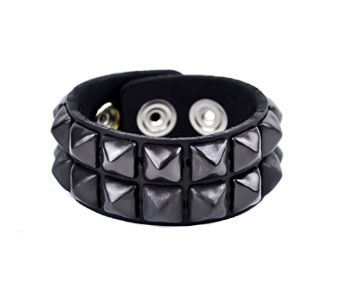 (2-Row Black Pyramid Stud Quality Leather Wristband Bracelet)