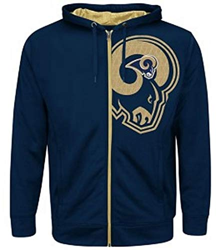 Los Angeles Rams NFL Mens Majestic Coverage Sack Full Zip Hoodie Navy Blue Big Sizes (5XL)