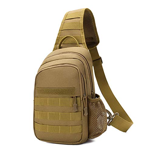 - Tactical Sling Bag,Single Shoulder Messenger Molle Bag,Chest Bag,Casual Office Tactical Satchel,Small Tool Backpak,Outdoor Day Pack Suitable Carrying ipad Mini,Smart Phone,Wallet Accessory(Brown)