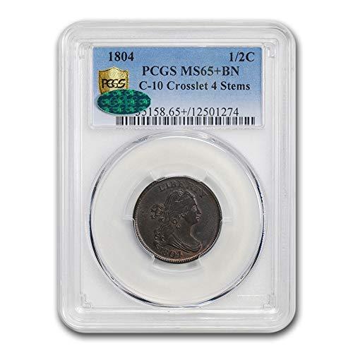 1804 Draped Bust Half Cent MS-65+ PCGS CAC (BN, Crosslet 4, Stem) Cent MS-65 PCGS