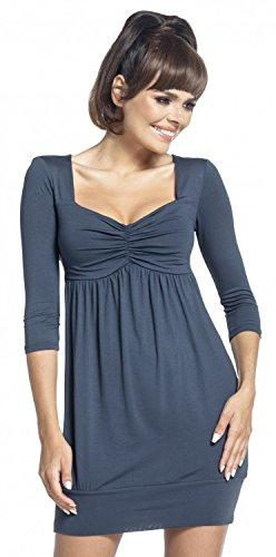 Zeta Ville - Vestido mini túnica cintura imperio escote corazón - mujer - 957z Azul Gris