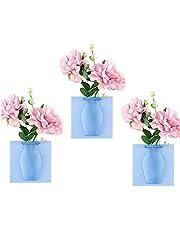 3Pcs Magic Rubber Silicone Floret Bottle, Magic Wall Decor Plant Vases Flower Container, Reusable Wall-Mounted Flower Pot, for Home, Window, Fridge Door Decoration