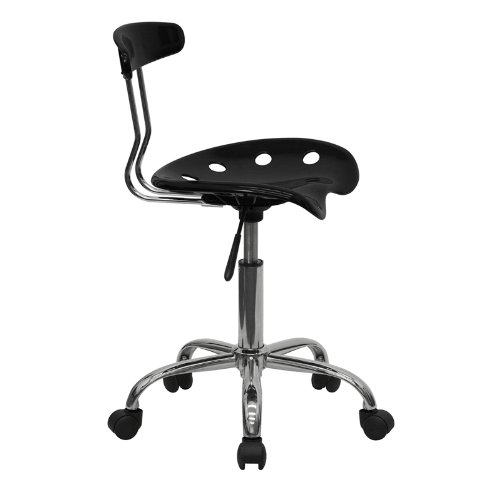 Flash Furniture Vibrant Black and Chrome Swivel Task Chair with Tractor Seat