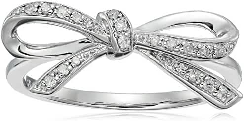Sterling Silver 1/10CTTW Diamond Bowknot Ring (1/10cttw, I-J Color, I3 Clarity), Size 7