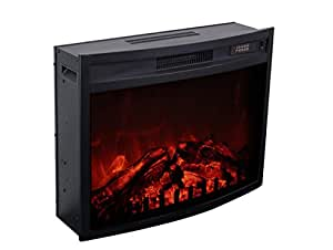 """3G Plus Electric Fireplace Insert Heater Carbon Log Fuel Effect Adjustable Flame Brightness w/Remote 26""""--Black"""