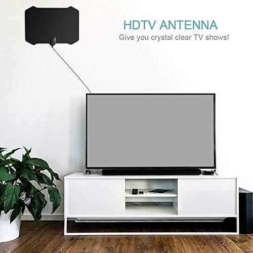 HD TV Antenna 50 Mile Range Indoor HDTV HD TV Antenna Home Antenne TV Couverte Large Gamme de Transmission Noir