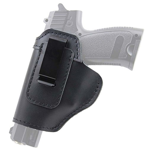 IWB Holster Leather Concealed with Clip for S&W M&P Shield 9mm Glock 17 18 19 22 23 32 33 or All Similar Sized Handguns (Left (Diy Gun Holster Costume)