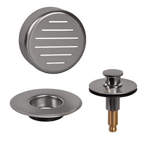AB&A 60111 Press-In Strainer with ''Classic'' Overflow Plate and Push eN Lift Stopper, Satin Nickel Finish by ABA