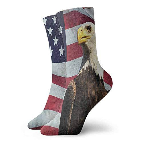 Men Novelty Eagle US Flag Country Symbol Light Cushion Athletic Socks