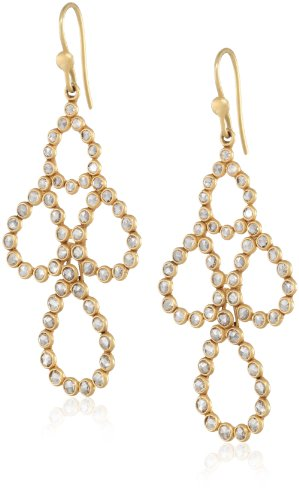 Lauren Harper Collection Milky Way 18k Gold and 3.55 cts Faceted Rose Cut Champagne Diamond Pear Earrings