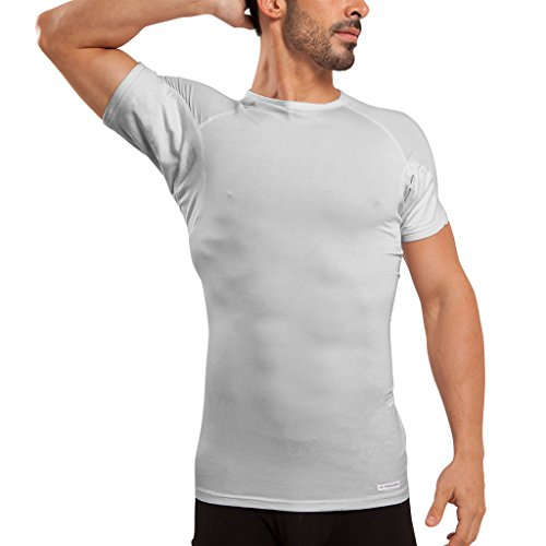Ejis Men's Sweat Proof Undershirt, Crew Neck, Anti-Odor Silver, Micro Modal, Sweat Pads (Large, Grey)