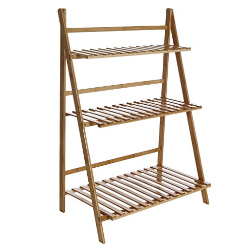 - SUJING Bamboo Plant Stand, 3-Tier Plant Stand Plant Display Stand, Wood Potted Flower Storage Rack - Ship from US