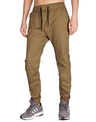 ITALY MORN Men's Chino Jogger Pant (XS, Brown)