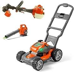 Husqvarna Battery-Powered Kids Toy Lawn Mower, Orange + Toy Leaf Blower + Toy...