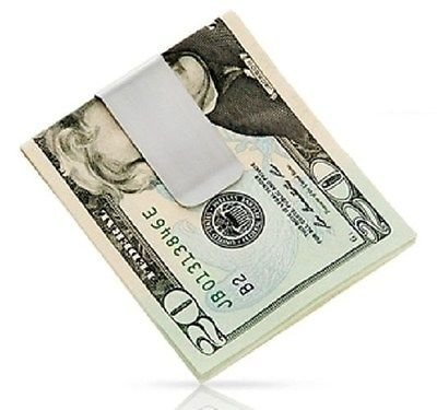 NEW STAINLESS STEEL SILVER SLIM POCKET MONEY CLIP HOLDER USA