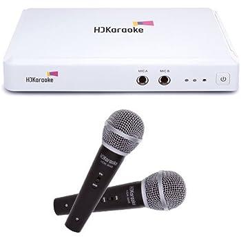 HDKaraoke HDK Box 2.0 Internet Enabled Karaoke Machine with 2 Mics, White