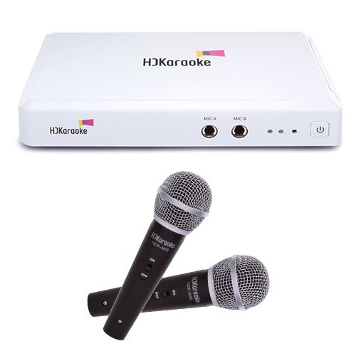 HDKaraoke HDK Box 2.0 Internet Enabled Karaoke Machine With 2 Mics, White (