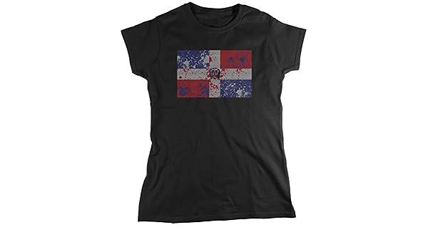 Bandera de República Dominicana, Faded abstracto Dominicana Bandera de la mujer camiseta, amdesco: Amazon.es: Ropa y accesorios
