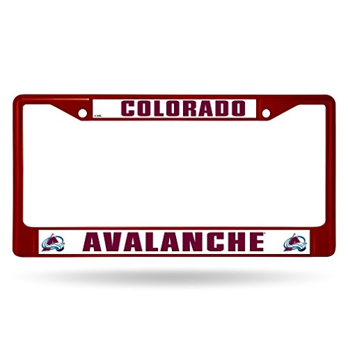 Rico Industries NHL Colorado Avalanche Team Colored Chrome License Plate Frame, Maroon