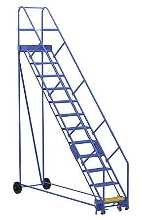 Vestil LAD-12-14-P-EZ- Escalera para almacén, 50 grados, perforada, 12 peldaños, color azul: Amazon.es: Amazon.es