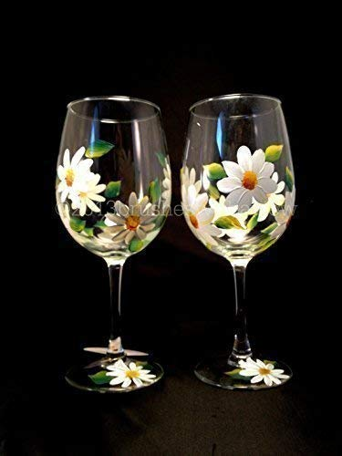 Handmade Flower Wine Glasses, Set of 2, Floral Wine Glasses, Hand Painted Wine Glasses, Perfect Mothers Day Gift for Mom or Wedding Party Favors ()