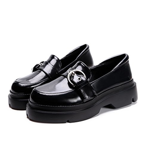 On Toe Womens Classic Shoes Buckle Black Oxford Loafer Dress Loafers Platform Penny GIY Round Slip Casual Y8xqFdq