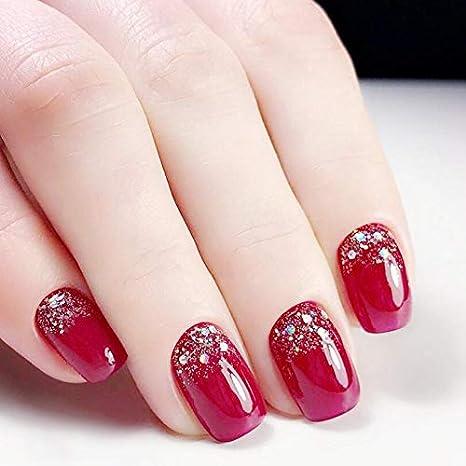Uñas postizas cortas de color rojo decoradas con purpurina, 24 unidades: Amazon.es: Belleza