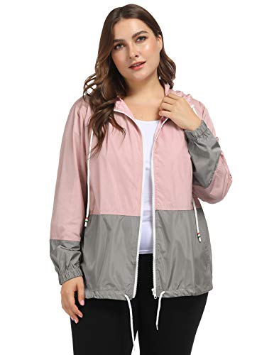 Hanna Nikole Women Plus Size Active Lightweight Jacket Hooded Raincoat 20W Pink]()