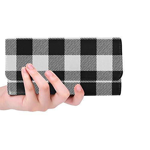 Plaid Tri Fold Wallet - Unique Custom White Buffalo Plaid Women Trifold Wallet Long Purse Credit Card Holder Case Handbag