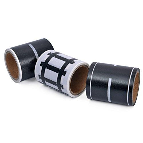STOBOK 3pcs Road Play Tape Sets DIY Traffic Railway Juego Pegatinas Rollos Adhesivos Cinta Extraíble para Niños Coches de...