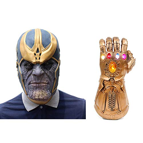 Halloween Thanos Cosplay Face Mask with Latex Gloves Superhero Latex Props Party for Adults Youth ()