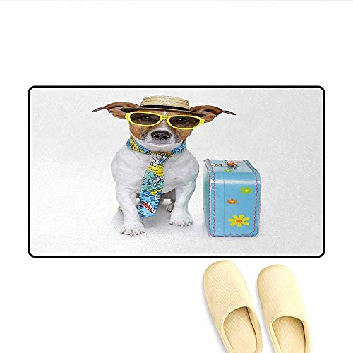 (Door Mats,Traveler Funny Dog Dressed as a Tourist with Hat Glasses Necktie and a Floral Suitcase,Bath Mats for Bathroom,Multicolor,Size:24