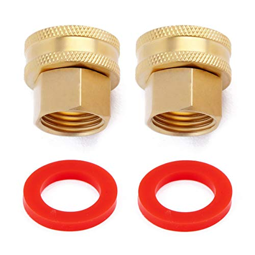 Litorange (2 Pack Industrial Metal Brass Garden Hose Threaded 3/4 to 1/2 NPT Fitting Connect, Green Thumb Quick Swivel Connector Adapter,Double Female Thread Size 3/4
