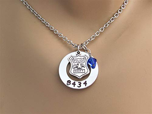 Police Wife, Police Mom, Police Daughter Hand Stamped Necklace with Custom Badge Number & Blue Sapphire Swarovski Crystal Bead, Police Lives Matter]()