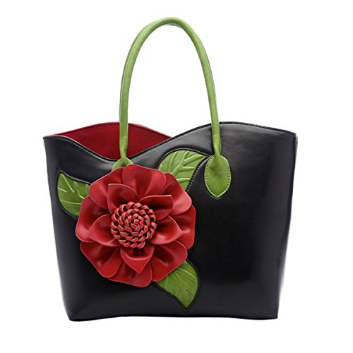 ABage Women's PU Leather Purse Vintage 3D Flower Tote Top Handle Crossbody Handbag, Black