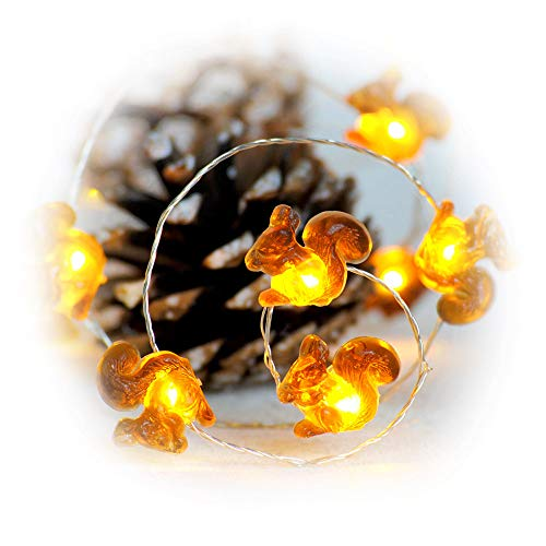Impress Life Fall Decortive String Lights, Squirrel Festive Lights Battery Operated 10 ft 40 LEDs with Remote Control for Autumn, Christmas, DIY Home Party, Holiday Wedding, Thanksgiving Decorations -