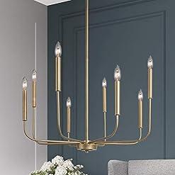 Interior Lighting LALUZ Champagne Gold Chandelier, Modern Farmhouse Light Fixture for Dining Room, Bedroom, Foyer, Living Room, Kitchen… modern ceiling light fixtures