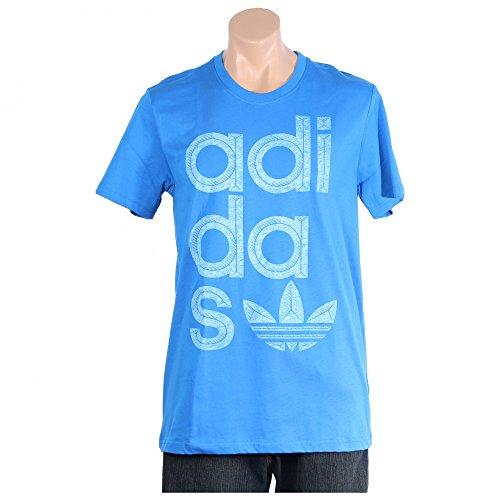 adidas Originals Men's Reverse Print Wrap Logo Tee, Bluebird Blue, X-Large